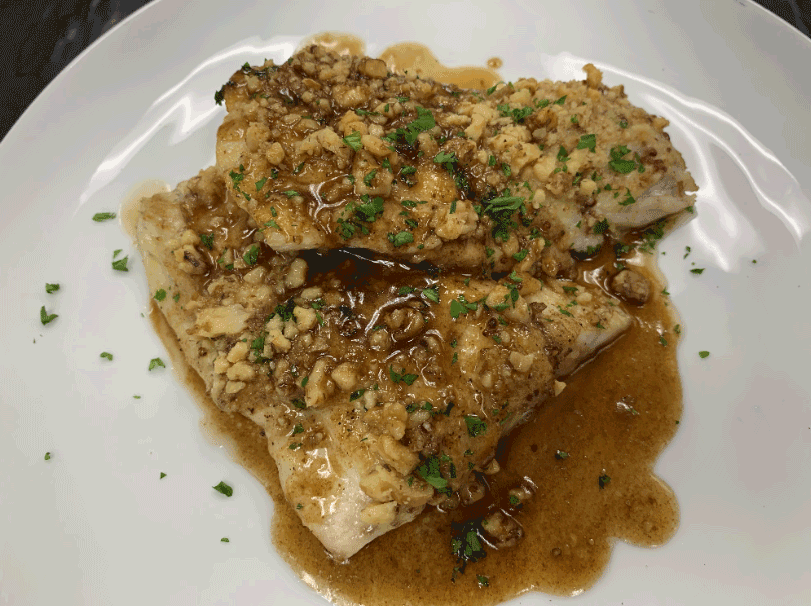 Walnut Crusted Sea Trout with Soy Brown Butter